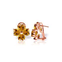 Genuine 6.5 ctw Citrine Earrings 14KT Rose Gold