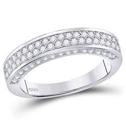 1.16 CTW Diamond 2-Row Wedding Ring 14kt White Gold
