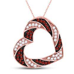 0.50 CTW Red Color Enhanced Diamond Heart Pendant 10kt Rose Gold