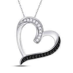 0.20 CTW Black Color Enhanced Diamond Heart Pendant 10kt White Gold