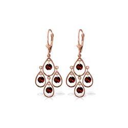 Genuine 2.4 ctw Garnet Earrings 14KT Rose Gold