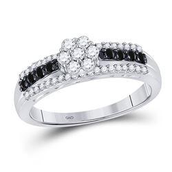 0.45 CTW Black Color Enhanced Diamond Cluster Ring 10kt White Gold