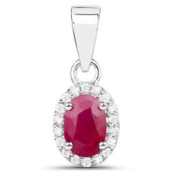 0.65 ctw Ruby & White Diamond Pendant 14K White Gold