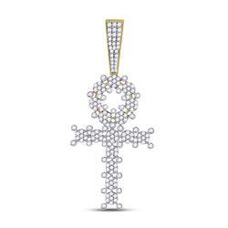 1.06 CTW Diamond Ankh Cross Charm Pendant 10kt Yellow Gold