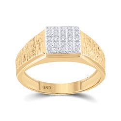 0.12 CTW Diamond Square Cluster Ring 10kt Yellow Gold