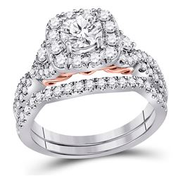 1.72 CTW Diamond Bridal Wedding Engagement Ring 14kt Two-tone Gold