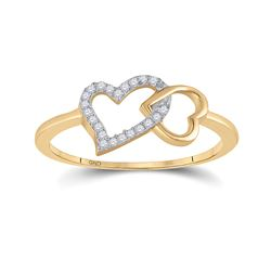0.05 CTW Diamond Double Heart Ring 10kt Yellow Gold