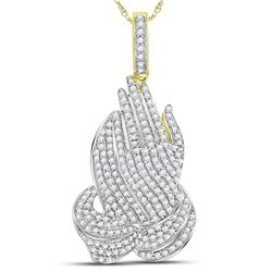 1.60 CTW Diamond Praying Hands Charm Pendant 10kt Yellow Gold