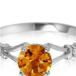 Genuine 1.02 ctw Citrine & Diamond Ring 14KT White Gold