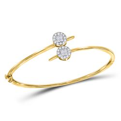 0.76 CTW Diamond Bypass Bangle Bracelet 14kt Yellow Gold