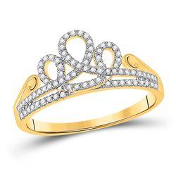 0.20 CTW Diamond Crown Tiara Fashion Ring 10kt Yellow Gold