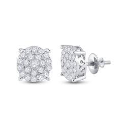 1.49 CTW Diamond Cluster Earrings 14kt White Gold