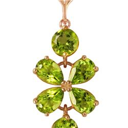 Genuine 3.15 ctw Peridot Necklace 14KT Rose Gold