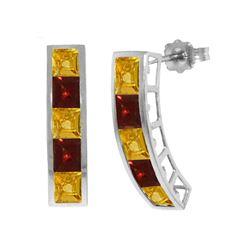 Genuine 4.5 ctw Citrine & Garnet Earrings 14KT White Gold