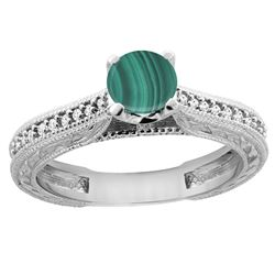 1.51 CTW Malachite & Diamond Ring 14K White Gold