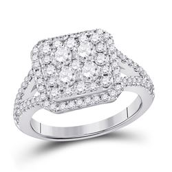 1.51 CTW Diamond Right Hand Cluster Ring 14kt White Gold