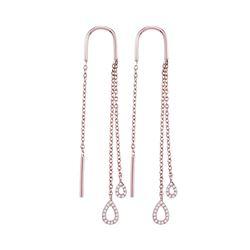 0.14 CTW Diamond Double Teardrop Dangle Threader Earrings 10kt Rose Gold