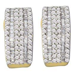 0.93 CTW Diamond Vertical Stripe Hoop Earrings 14kt Yellow Gold