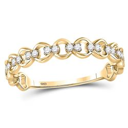 0.12 CTW Diamond Link Stackable Ring 10kt Yellow Gold