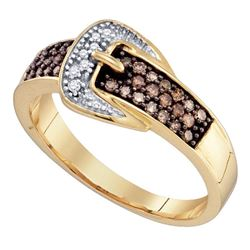 0.25 CTW Brown Diamond Belt Buckle Ring 10kt Yellow Gold