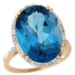 13.71 CTW London Blue Topaz & Diamond Ring 14K Yellow Gold