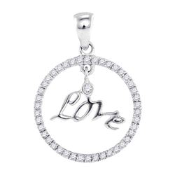 0.25 CTW Diamond Circular Captured Love Circle Pendant 10kt White Gold