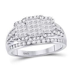 1.06 CTW Diamond Triple Cluster Ring 10kt White Gold