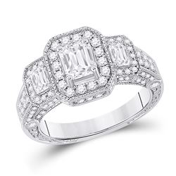 1.95 CTW Emerald Diamond 3-stone Bridal Wedding Engagement Ring 14kt White Gold