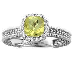 1.60 CTW Lemon Quartz & Diamond Ring 14K White Gold