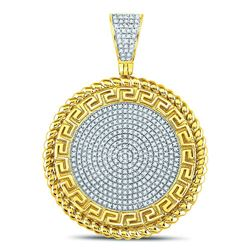 0.61 CTW Diamond Greek Key Circle Charm Pendant 10kt Yellow Gold
