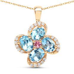 0.89 ctw Swiss Blue Topaz, Tourmaline Pink & Diamond Pendant 14K Yellow Gold