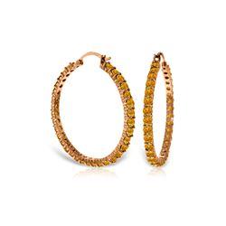Genuine 6 ctw Citrine Earrings 14KT Rose Gold