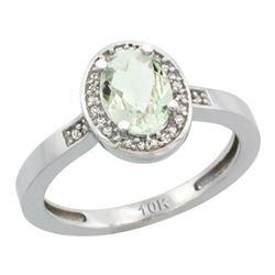 1.15 CTW Amethyst & Diamond Ring 14K White Gold