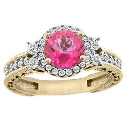 1.46 CTW Pink Topaz & Diamond Ring 14K Yellow Gold