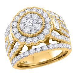 2.99 CTW Diamond Flower Cluster Bridal Wedding Engagement Ring 14kt Yellow Gold