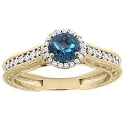 1.24 CTW London Blue Topaz & Diamond Ring 14K Yellow Gold