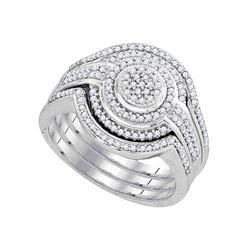 0.50 CTW Diamond Cluster Bridal Wedding Engagement Ring 10kt White Gold