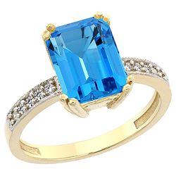3.70 CTW Swiss Blue Topaz & Diamond Ring 10K Yellow Gold