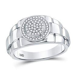 0.20 CTW Diamond Circle Cluster Ring 10kt White Gold