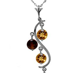 Genuine 2.3 ctw Citrine & Garnet Necklace 14KT White Gold