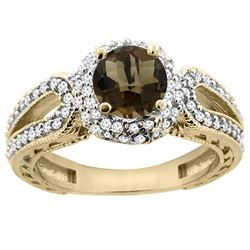 1.50 CTW Quartz & Diamond Ring 14K Yellow Gold