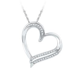 0.16 CTW Diamond Heart Pendant 10kt White Gold