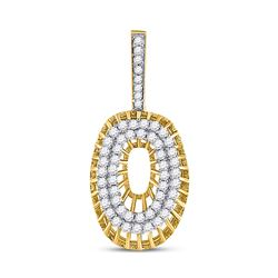 1.09 CTW Diamond O Letter Charm Pendant 10kt Yellow Gold
