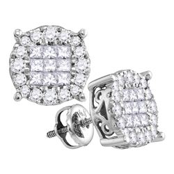0.50 CTW Diamond Cluster Earrings 14kt White Gold