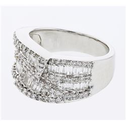 1.58 CTW Diamond Ring 18K White Gold