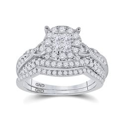 0.99 CTW Diamond Bridal Wedding Engagement Ring 14kt White Gold