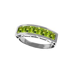 Genuine 2.25 ctw Peridot Ring 14KT White Gold
