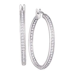 1 CTW Diamond Inside Outside Hoop Earrings 14kt White Gold
