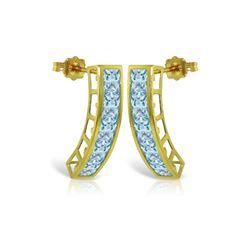 Genuine 4.5 ctw Aquamarine Earrings 14KT Yellow Gold