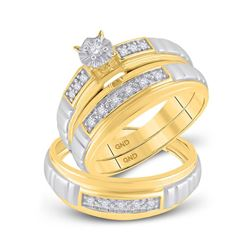 0.17 CTW Diamond Solitaire Matching Bridal Wedding Ring 10kt Yellow Gold